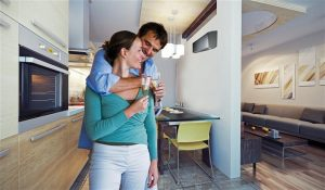 Home Inspectors Miami couple drinking wine in their new home